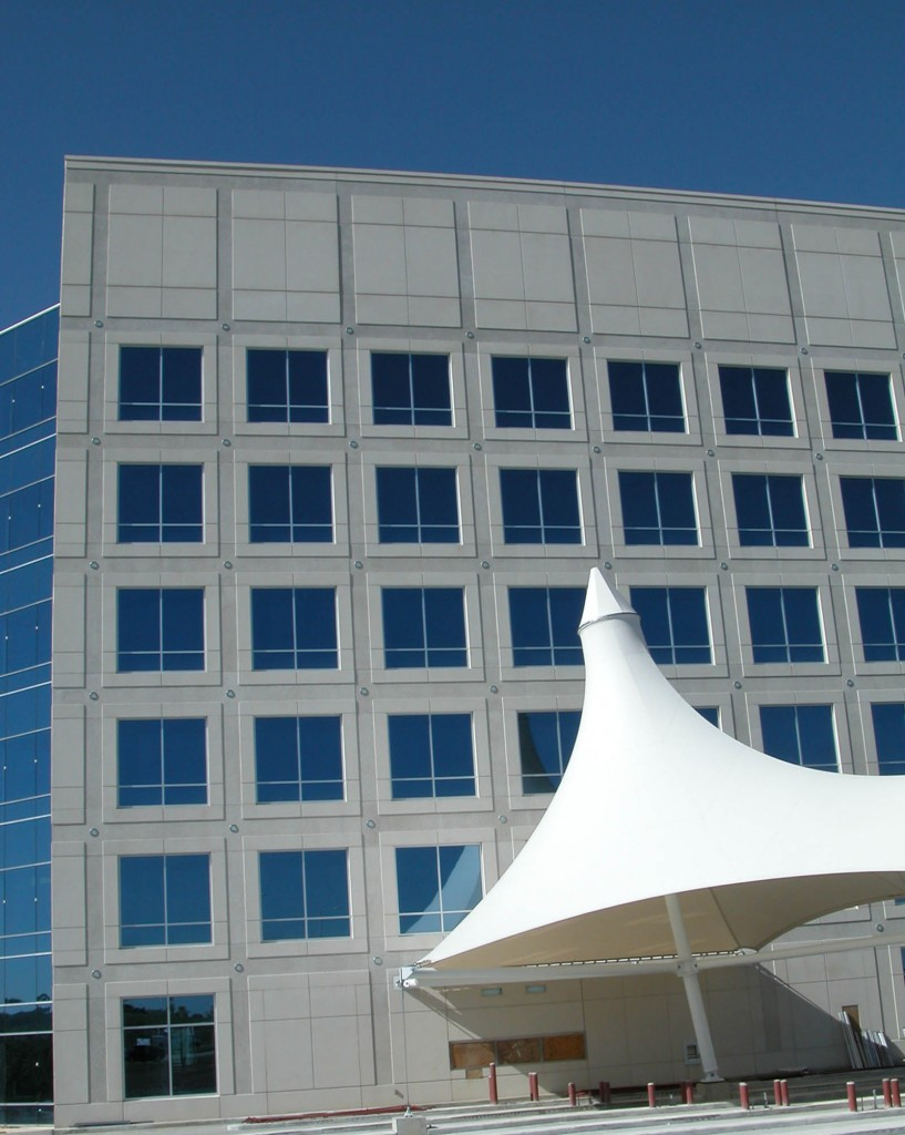 The Blue Ridge Bank Building uses white concrete with light and heavy sandblast areas.